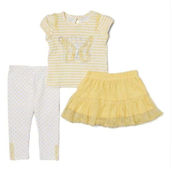 Young Hearts Yellow Stripe Butterfly Top Tutu Set